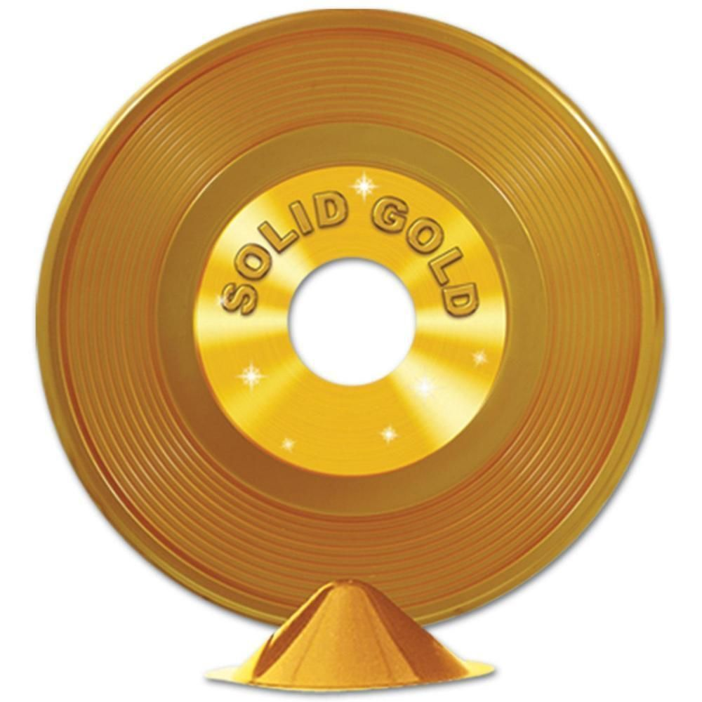 Gold Plastic Record Centerpiece 12ct