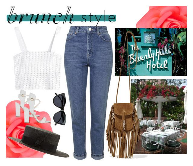 """""""Beverly Hills Hotel Brunch"""" by natalieminguez-1 ❤ liked on Polyvore featuring Topshop, Accessorize, Paul Andrew, 3.1 Phillip Lim, Gladys Tamez Millinery, Le Specs, Yves Saint Laurent and Spring"""