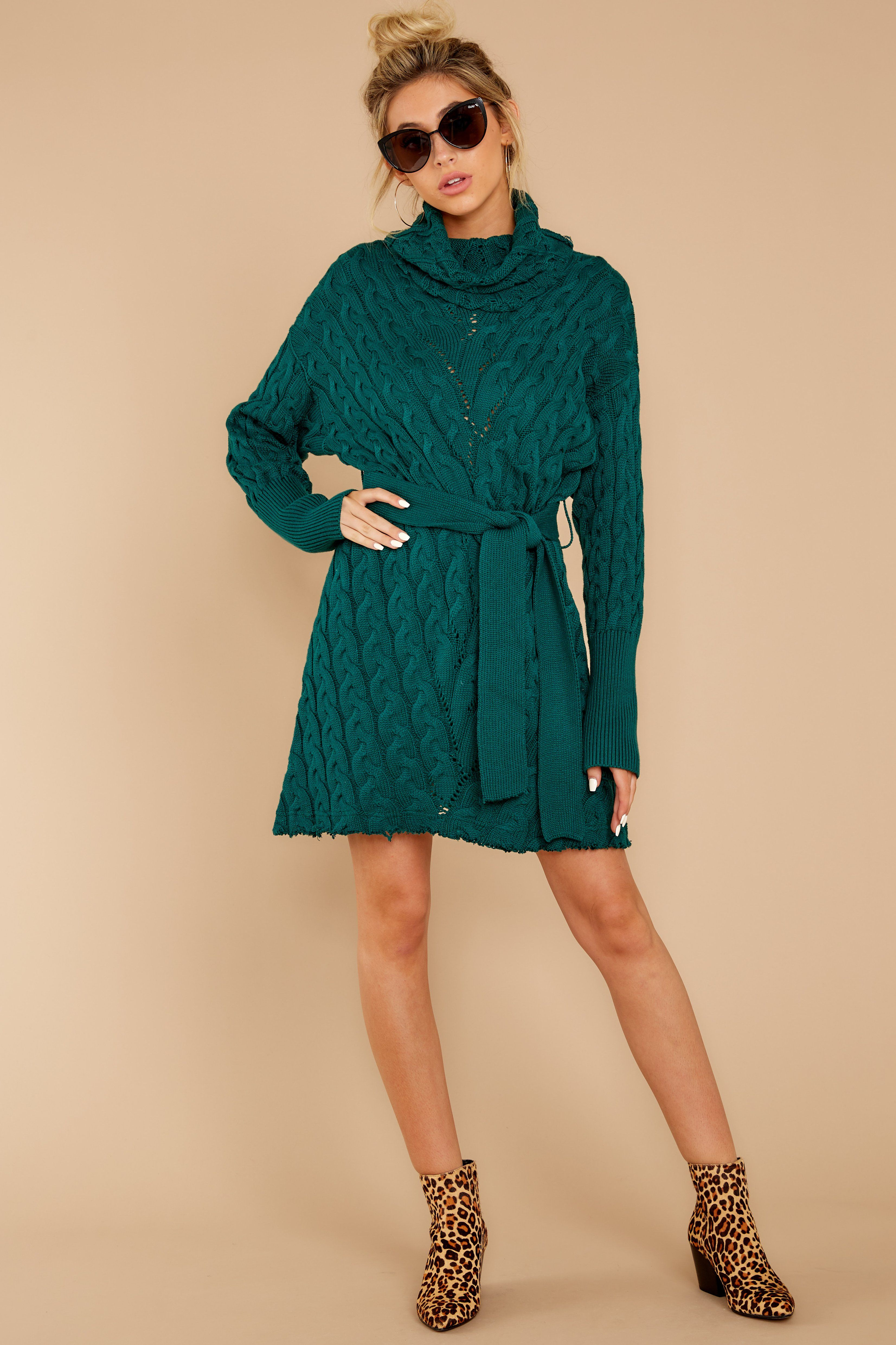 Ready Willing And Cable Knit Teal Green Sweater Dress 11