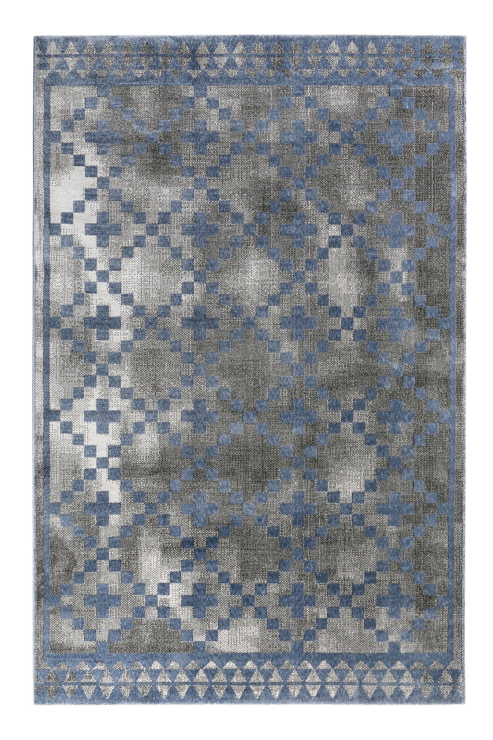 Wecon Home Kurzflor Teppich Pleasure 2 Grau Blau Kurzflor Teppiche Teppich Geometrisches Muster