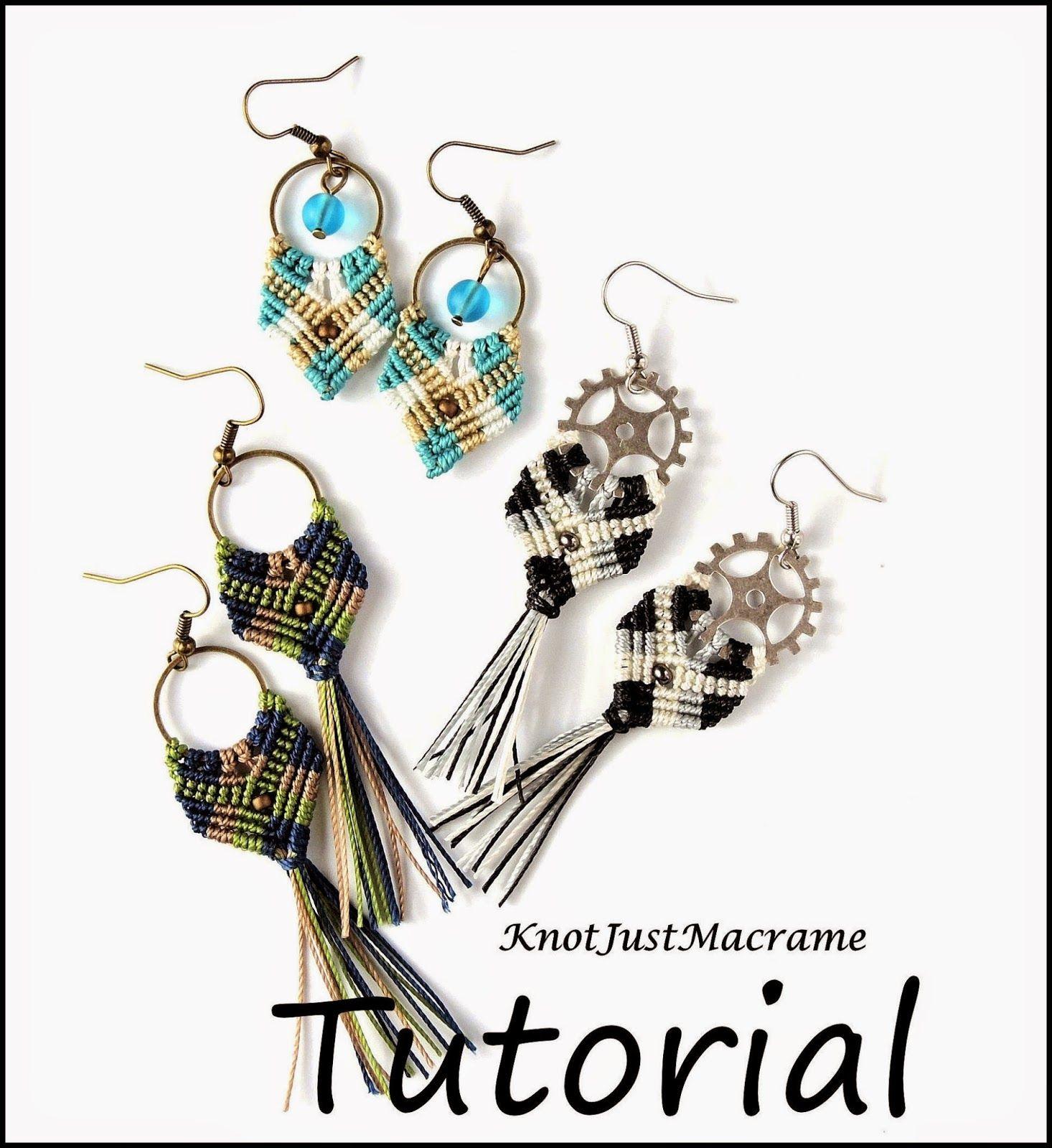 Gypsy Earrings Micro Macrame tutorial by Knot Just Macrame.