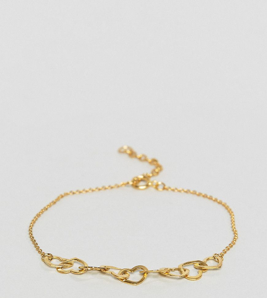 Asos gold plated sterling silver mini linked hearts bracelet gold