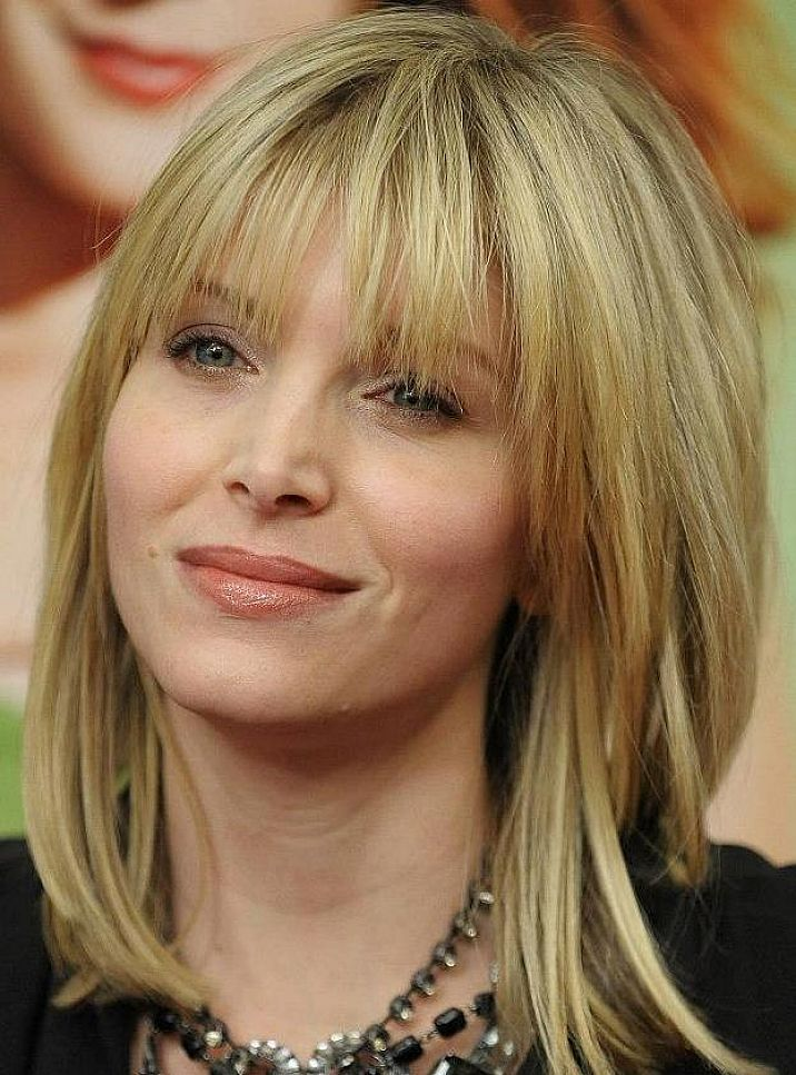 Blonde Hairstyles Medium Length With Side Bangs For Women