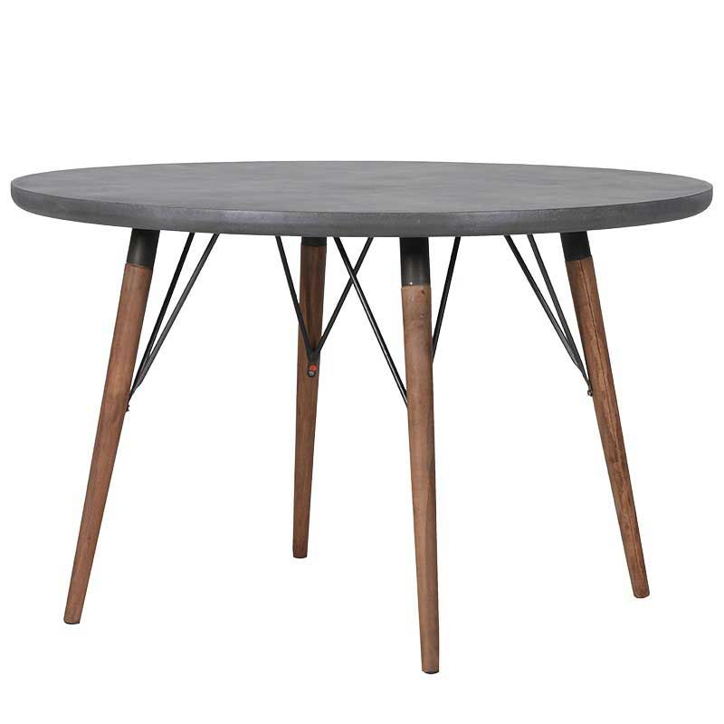 Grey Circular Dining Table With Cross Braces And Natural Legs