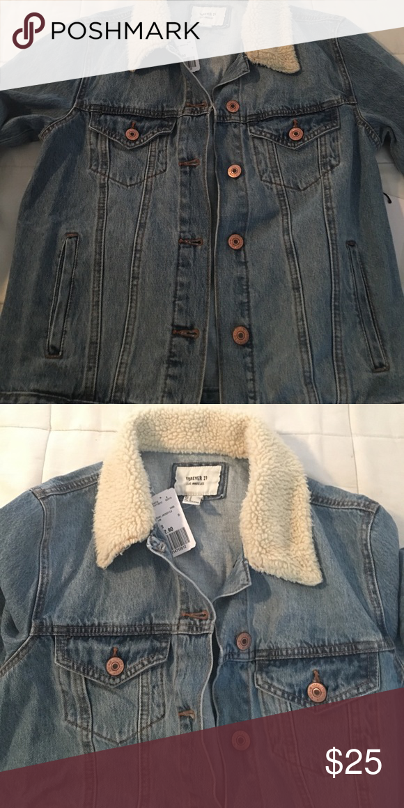 Jean jacket Denim jacket shearling collar Forever 21 Jackets & Coats Jean Jackets