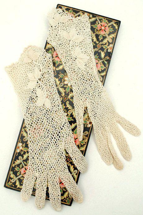 Antique Edwardian long crochet net ivory day gloves by DillyDandy ...