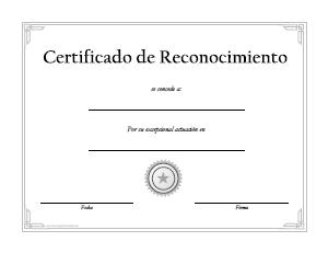 formato de reconocimiento