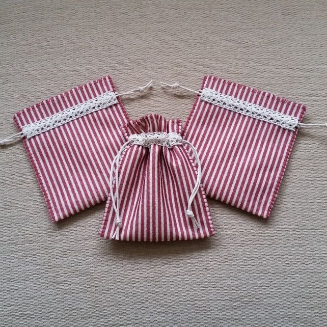 Set of 3 hand stitched drawstring Gift Bags £9.00