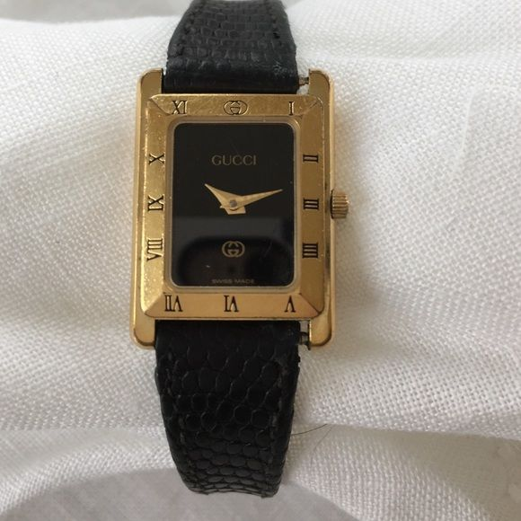 395b840e7 Vintage Ladies Gucci Watch Vintage Gucci Ladies Watch 4200L Swiss Made late  1980s Metal, Gold Plated, Black Leather Strap with new Battery Gucci  Accessories ...