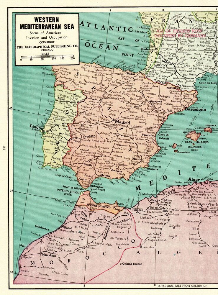 Map Of France 1940.1940 Antique Mediterranean Sea Map Of Italy France Spain Morocco