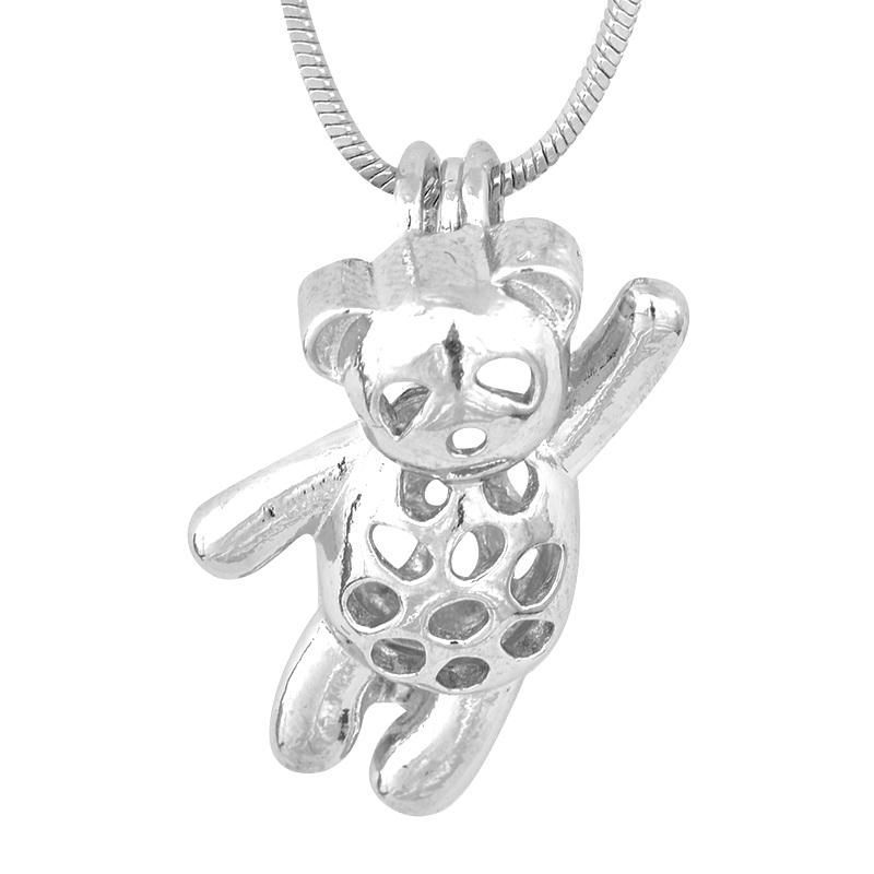 Toy Bear Design Cage Pendant, Pearl Gem Bead Locket Pendant Mounting, DIY Necklace Bracelet Jewelry Making Accessory