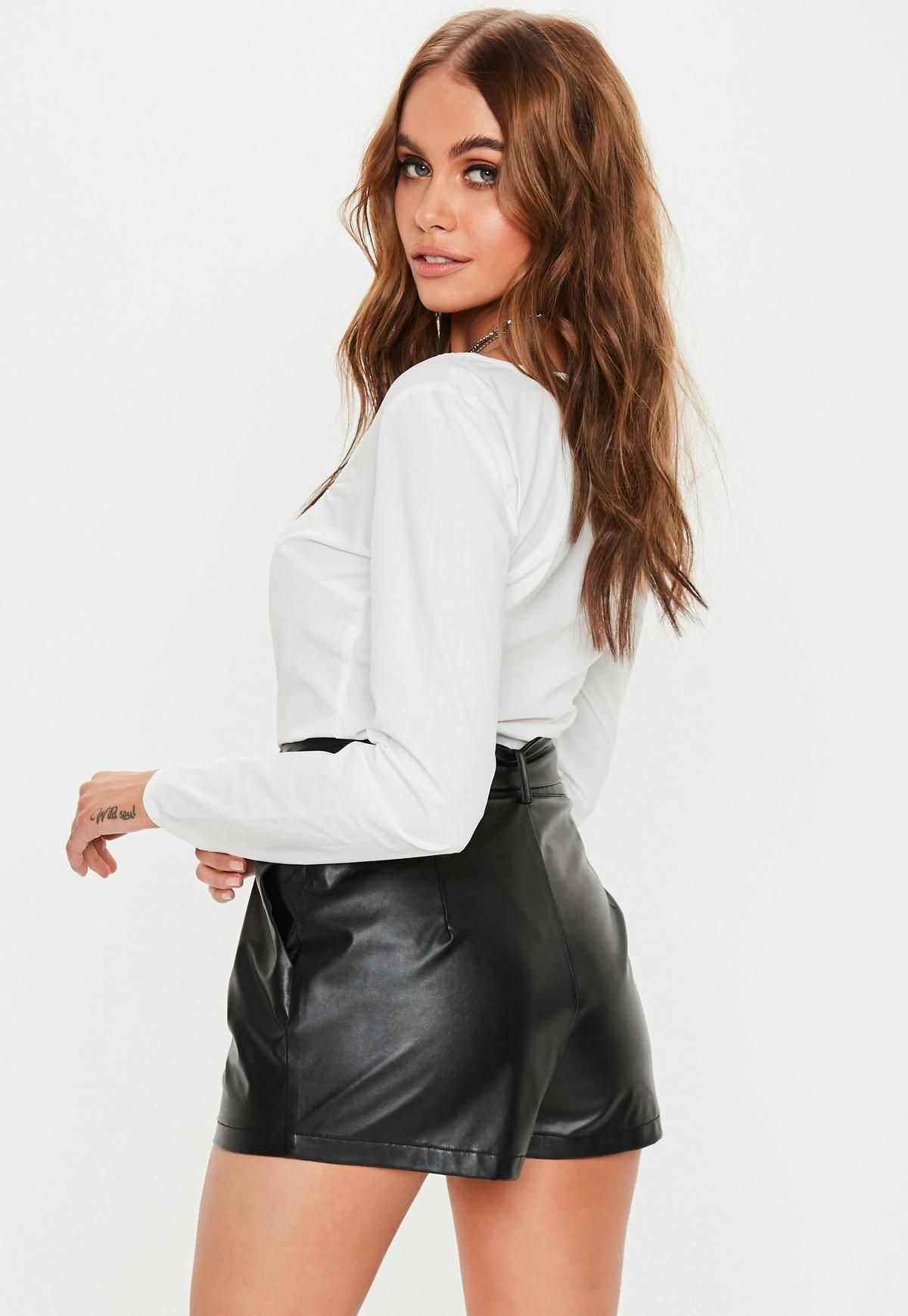 Tall Black Tie Detail Faux Leather Cigarette Trousers
