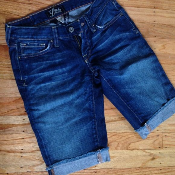 Lucky Brand Denim Jean Shorts Like-new condition! Barely worn (too big for me!) Lucky Brand denim jean Bermuda shorts. No trades, please! (Saving up for college) ✨20% off bundle of 2+ items in my closet!✨ Lucky Brand Shorts Jean Shorts