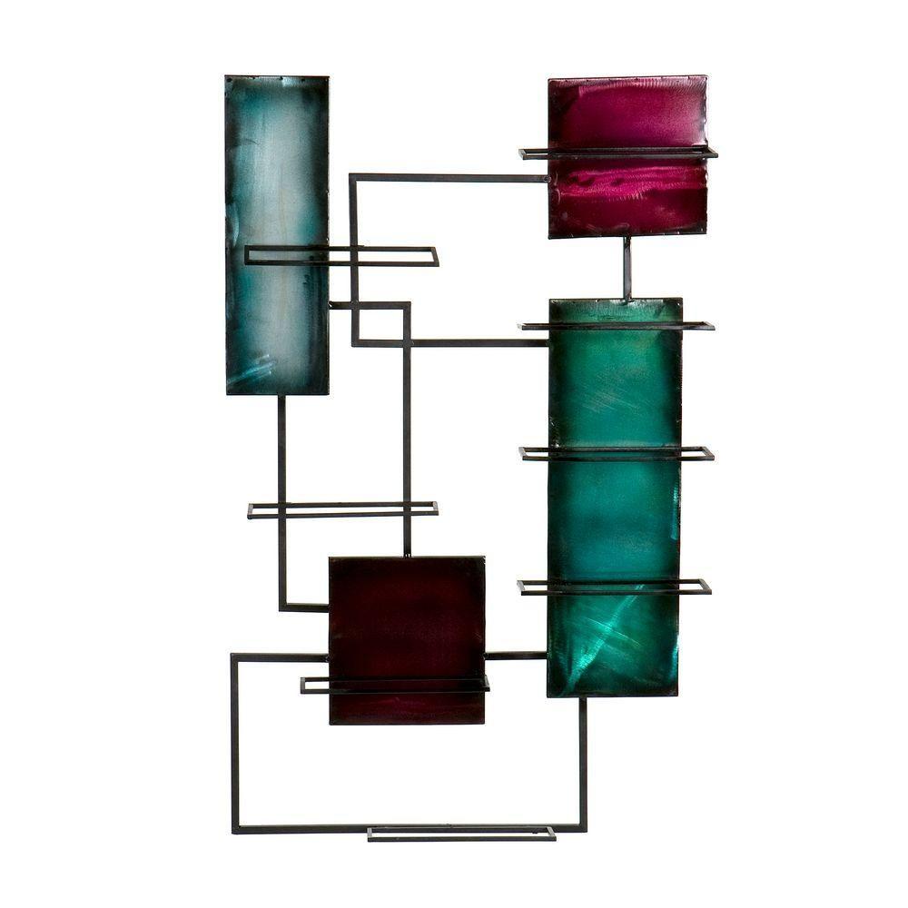 Metal wall sculpture wine storage in multicolor wine storage