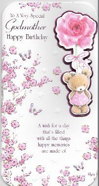 To A Very Special Godmother Happy Birthday Card Cute Teddy Flowers Presents