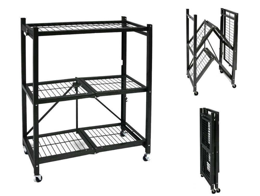 Details About Storage Rack Folding Shelves W Wheels Heavy