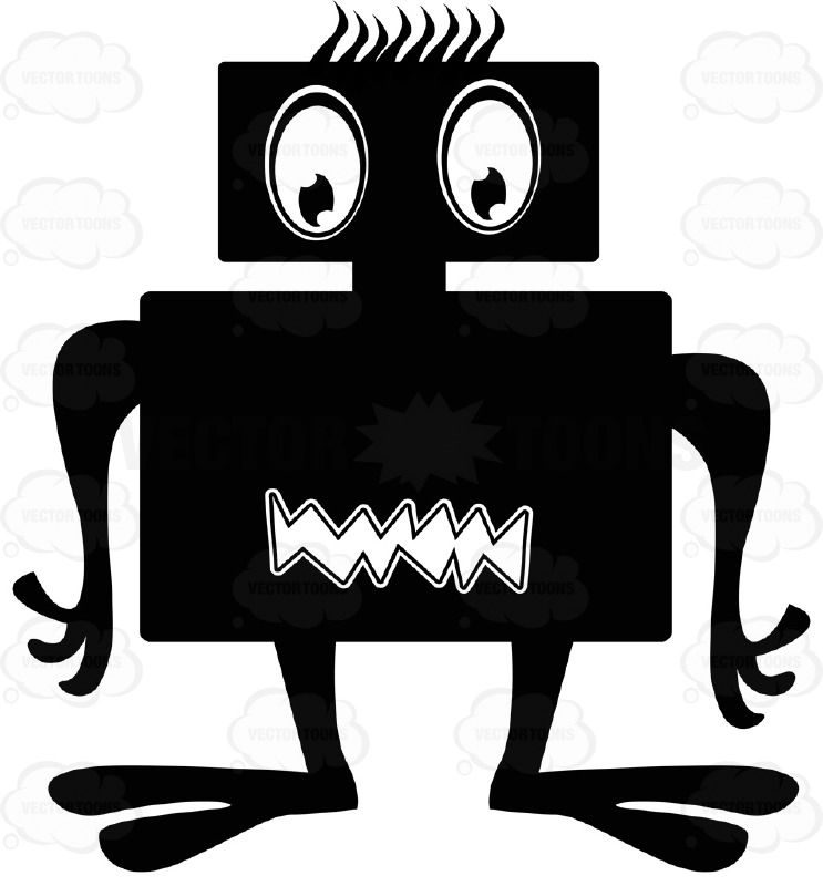 Square Dual Black Ink Monster With Eyes On One Rectangle Part And ...