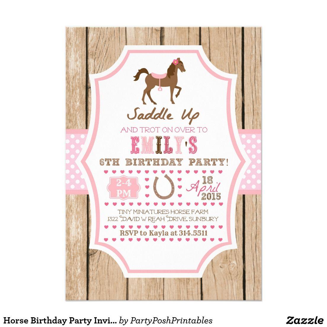 Horse Birthday Party Invitation 5\