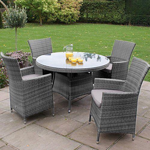 San Diego Baby Rattan Garden Furniture Grey 4 Seater Round Table Set