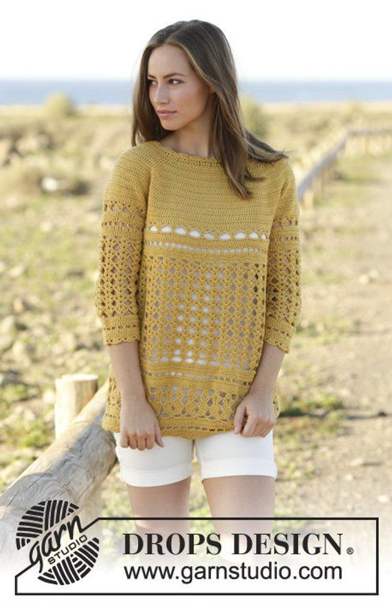 3f4573394f50 Crochet Sahara Women s 3 4 Sleeve Cotton Merino Wool Pullover ...
