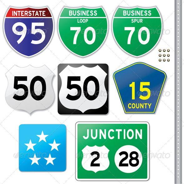 Interstate Highway Signs Illustrator Cs Fonts And Font Logo - Us highway map symbols