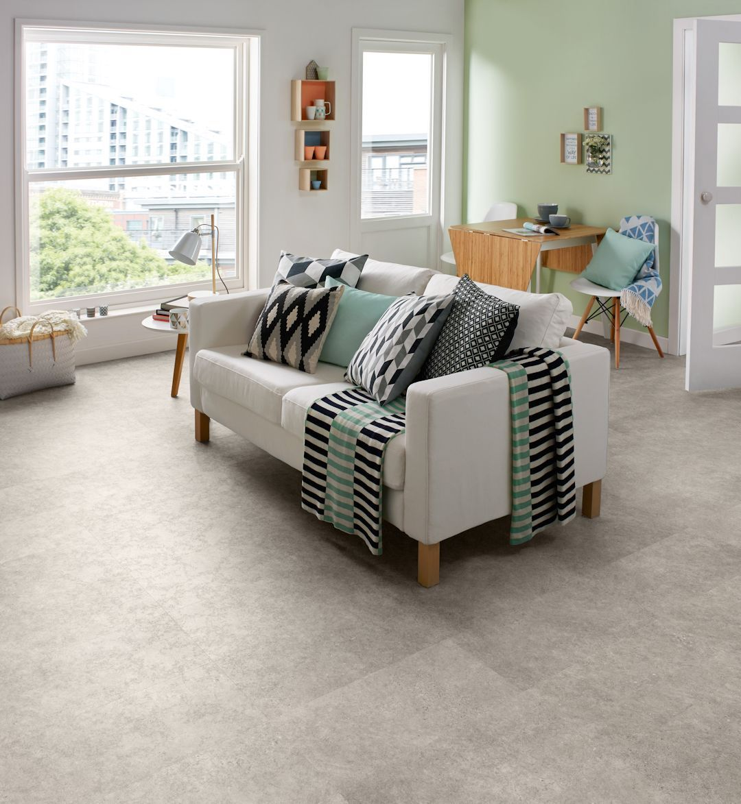 Burnished Concrete Camaro luxury vinyl tile flooring