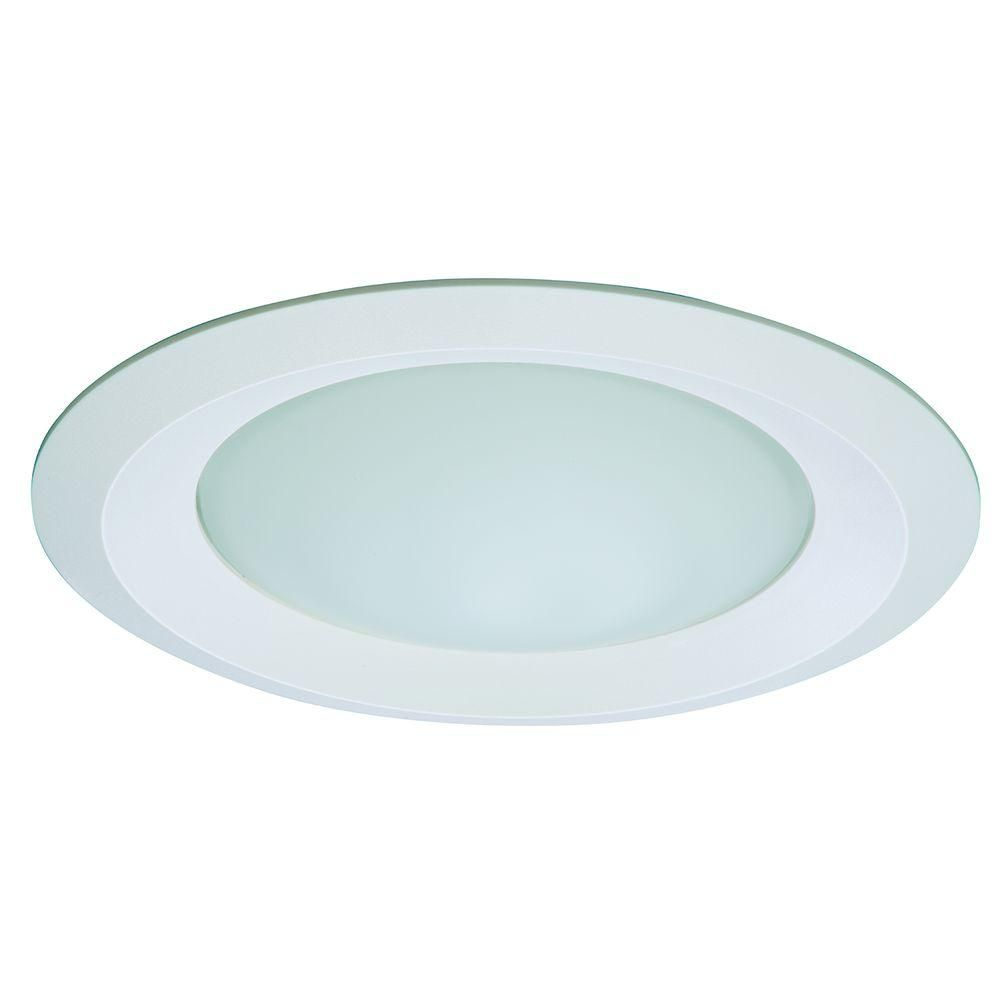 Halo e26 series 6 in white recessed ceiling light fixture trim with white recessed ceiling light fixture trim with frosted glass lens wet rated shower light 6150wh the home depot aloadofball Image collections