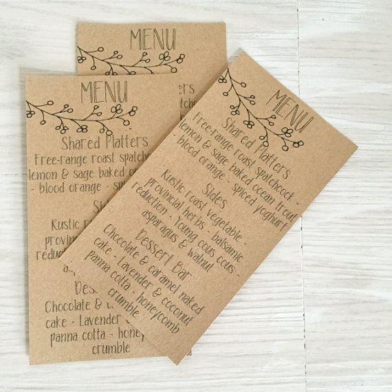 Rustic Wedding Menu Cards, Rustic Wedding, Rustic Wedding Stationery, Kraft Menu Cards