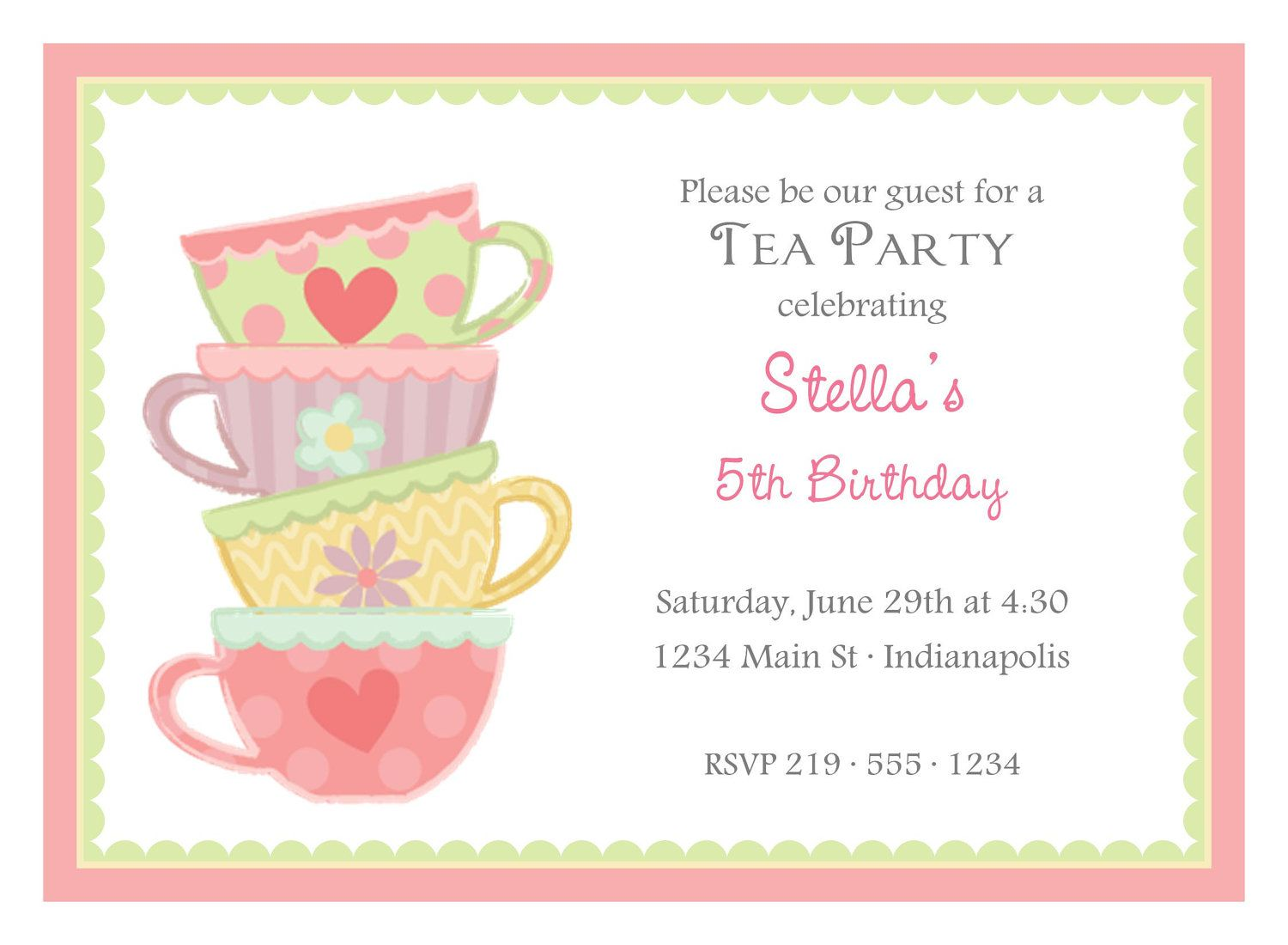 Kids Tea Party Invitation Wording – Tea Birthday Party Invitations