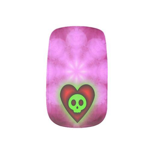 Glowing Hearts and Skulls Minx Nails Nail Art