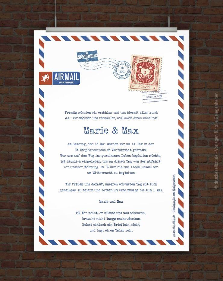 Kostenlose hochzeitseinladung airmail free printables for Pinterest hochzeitseinladung