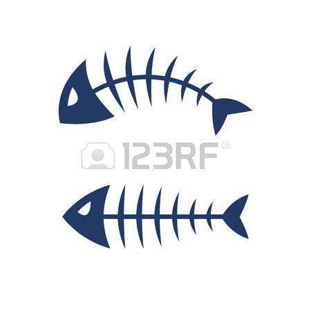 Fish Fish Bone Skeleton Symbol Vector Icon Design Illustration Fish Bone Tattoo Fish Drawings Fish