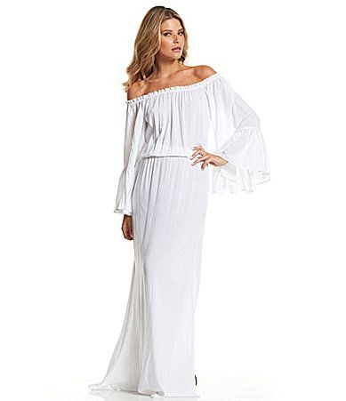 Elan Ruffled Offtheshoulder Maxi Dress Dillards Summer Style