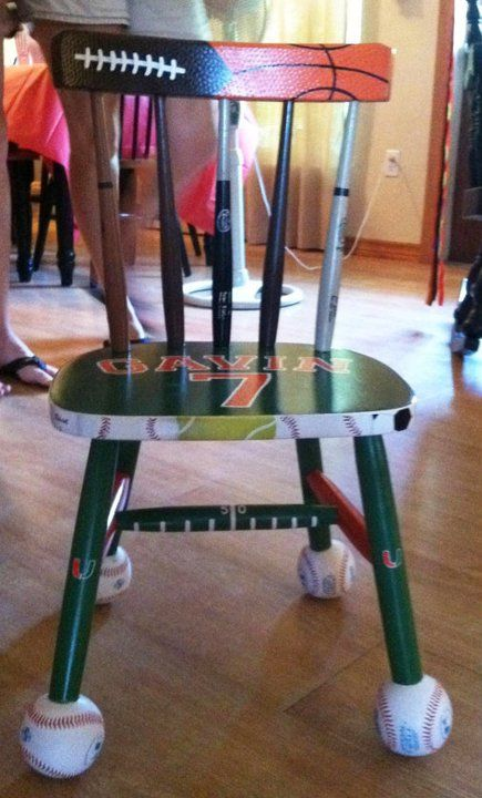 Wooden Chair Painted In A Sports Theme