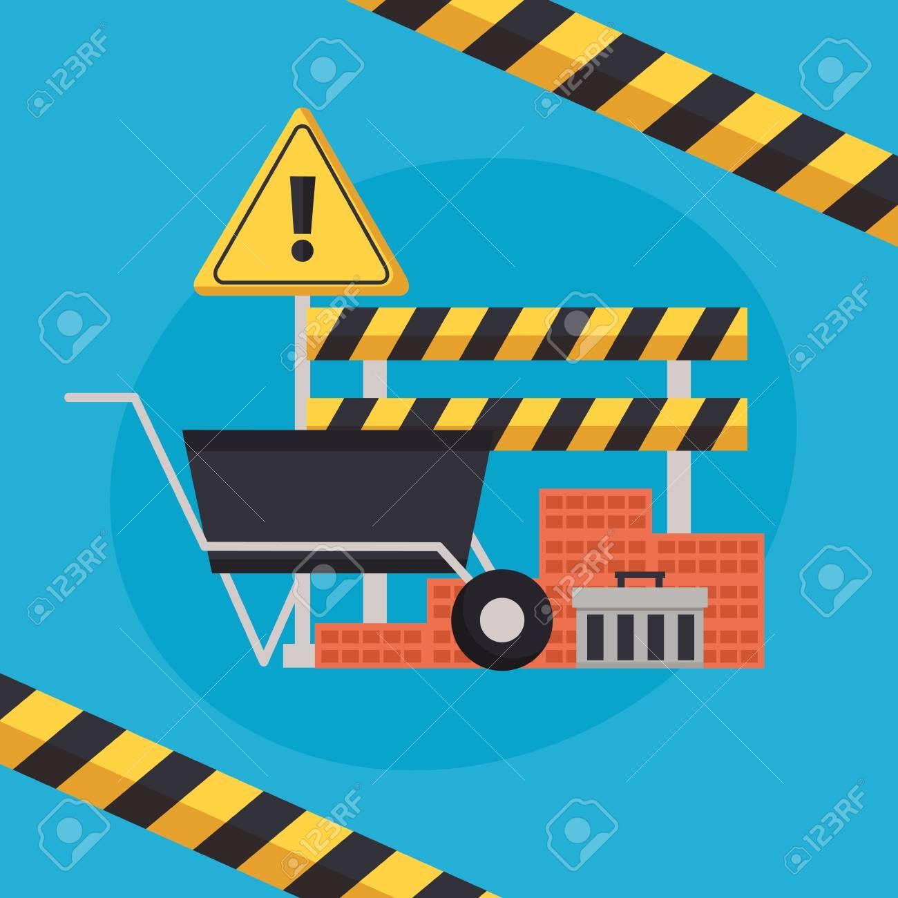 construction equipment wheelbarrow bricks barricade