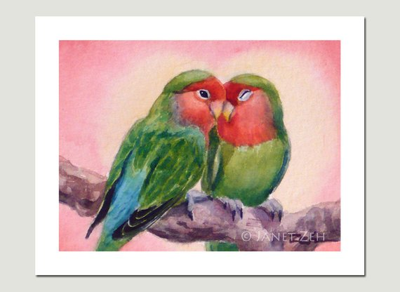 Love Birds Art Print Lovebirds Watercolor Valentines Day Bird Wall