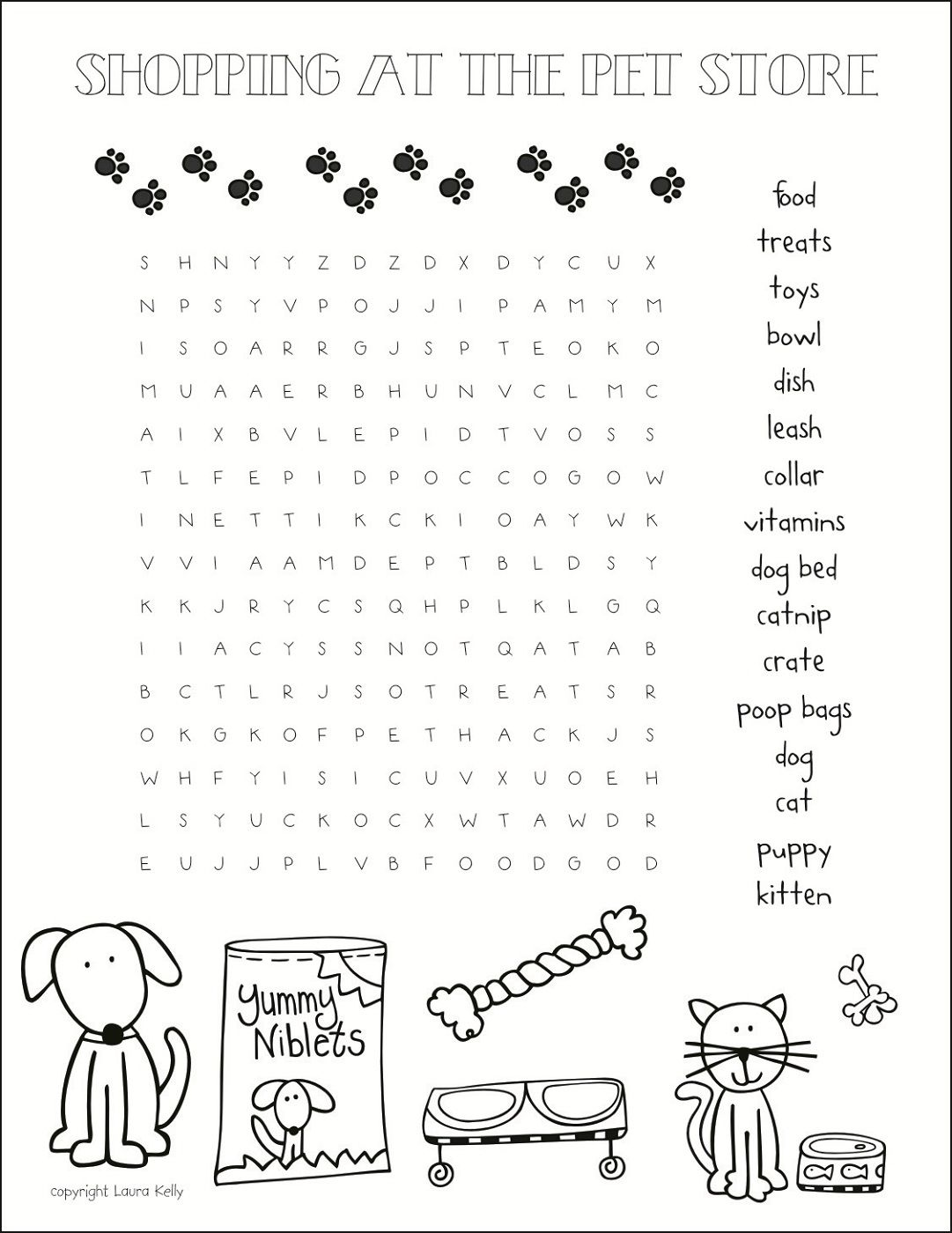 Pet Store Word Search For Animal Lovers