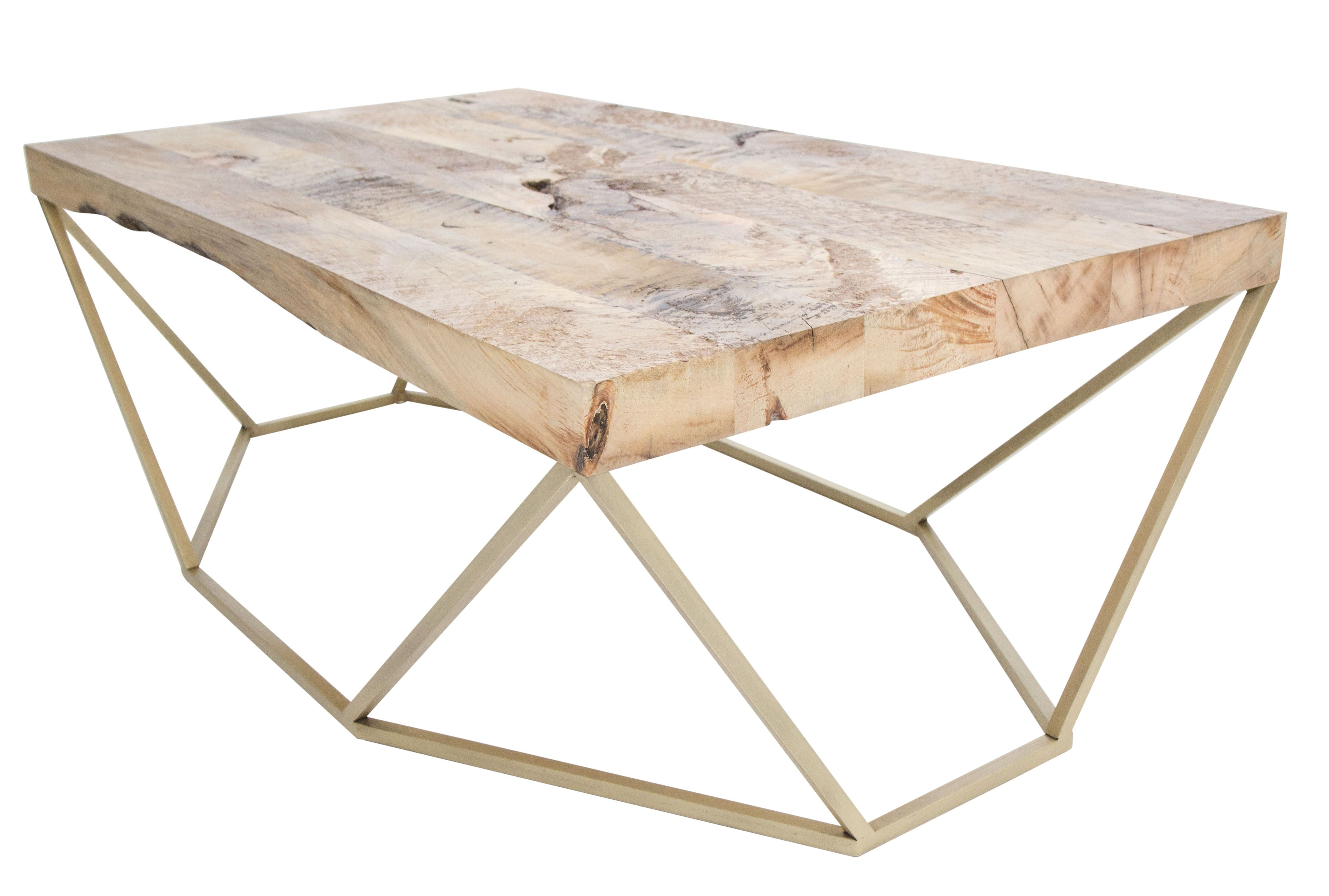 Dusk Coffee Table Reclaimed Wood Brass Contemporary Mid