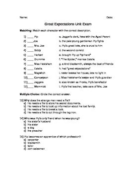 this unit exam based on great expectations by charles dickens this unit exam based on great expectations by charles dickens includes matching multiple