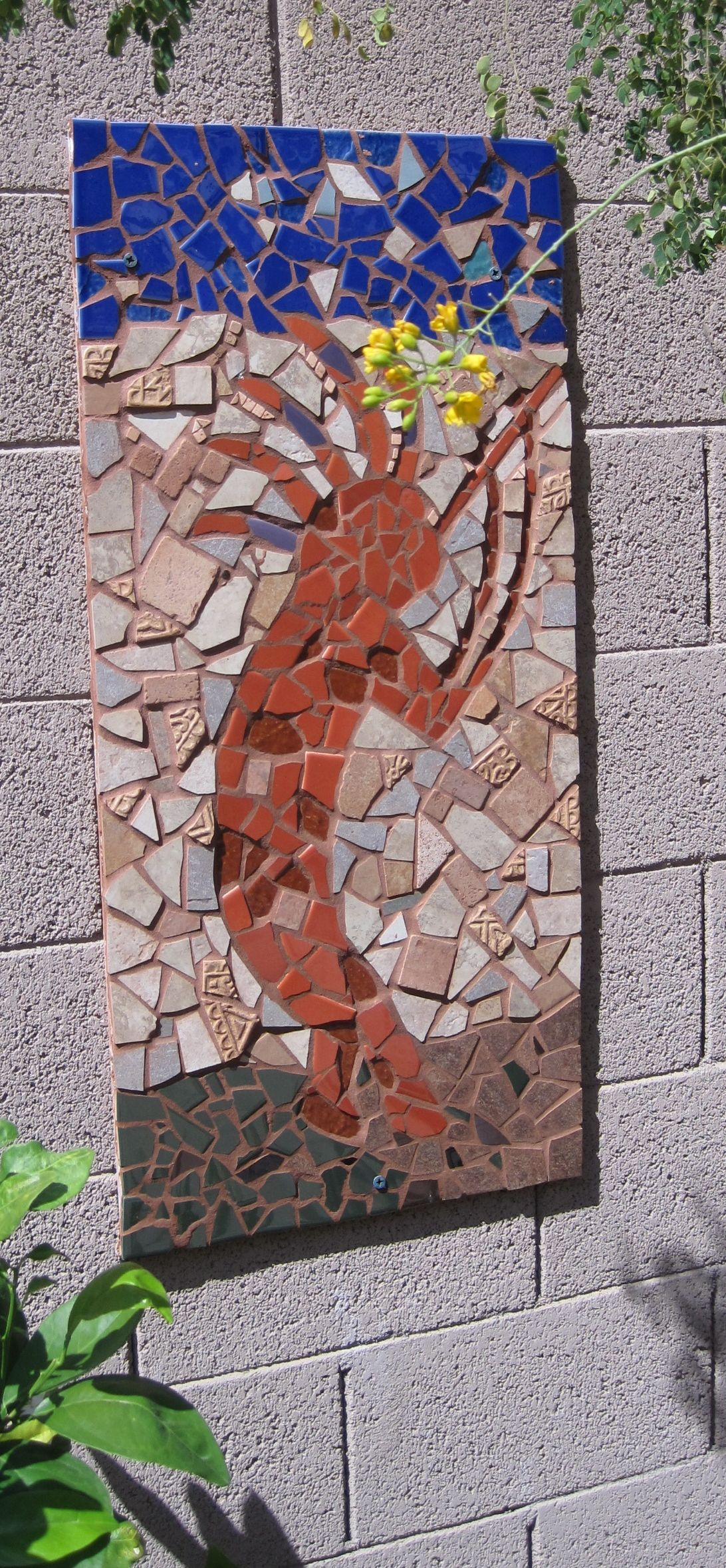 Kokopelli Mosaic For Our Garden Wall I Used Concrete Board The Backing Most Difficult Part Is Finding Right Colored Tiles At A Reasonable