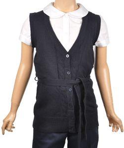 7d28b2080b75 Nautica Big Girls' Long-Cut Cable Sweater Vest (Sizes 7 - 16) -  CookiesKids.com $19.99 navy blue v-neck sweater school uniform