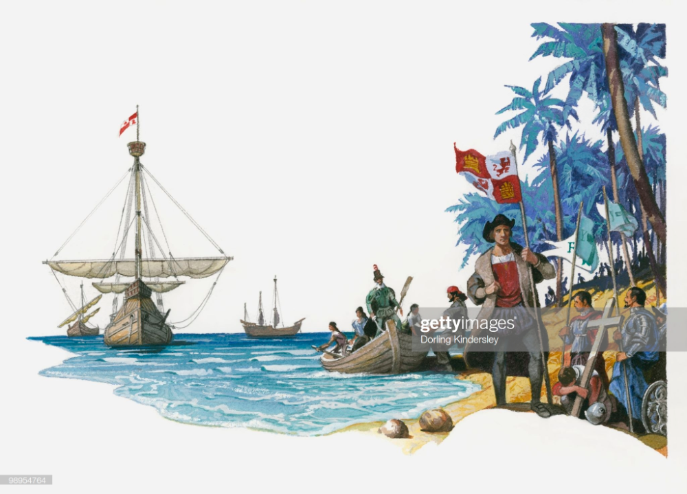Illustration Of Christopher Columbus With Boats Santa Maria Pinta Christopher Columbus Historical Pictures Christopher Columbus Facts