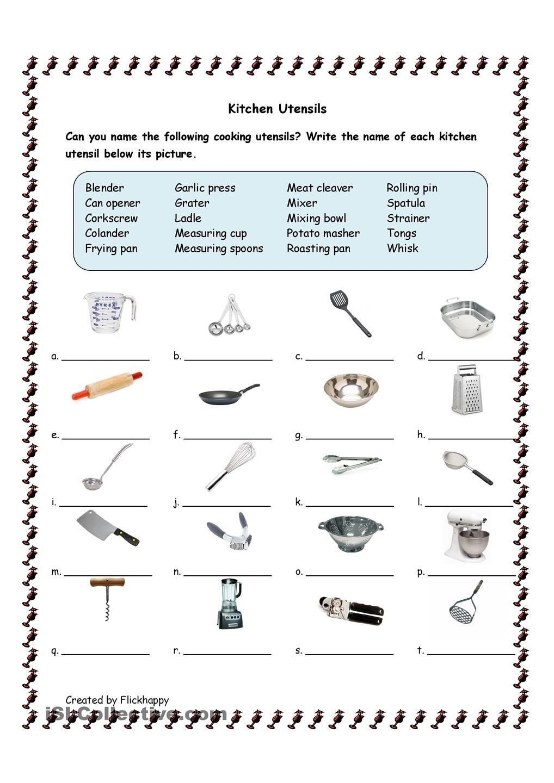 Basic Cooking Terms Worksheet Answers Free Kitchen Utensils Printable Math Worksheets Worksheets Free Life Skills