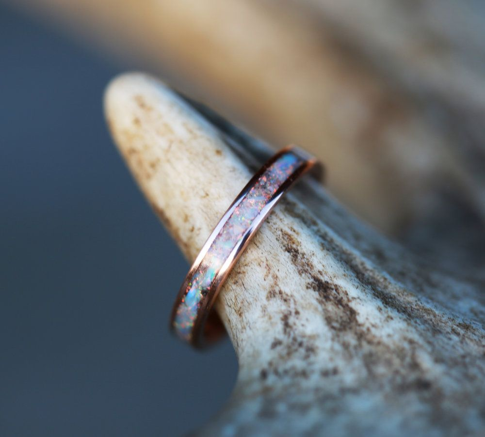 ROSE GOLD STACKING WEDDING BAND FEATURING FIRE ICE OPAL Available W Diamond Wood Antler Turquoise And Other Inlay Options