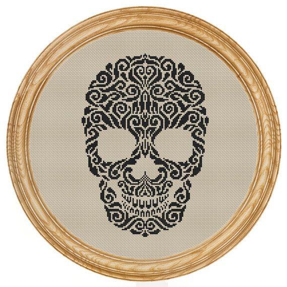 Skull Silhouette Cross Stitch Pattern