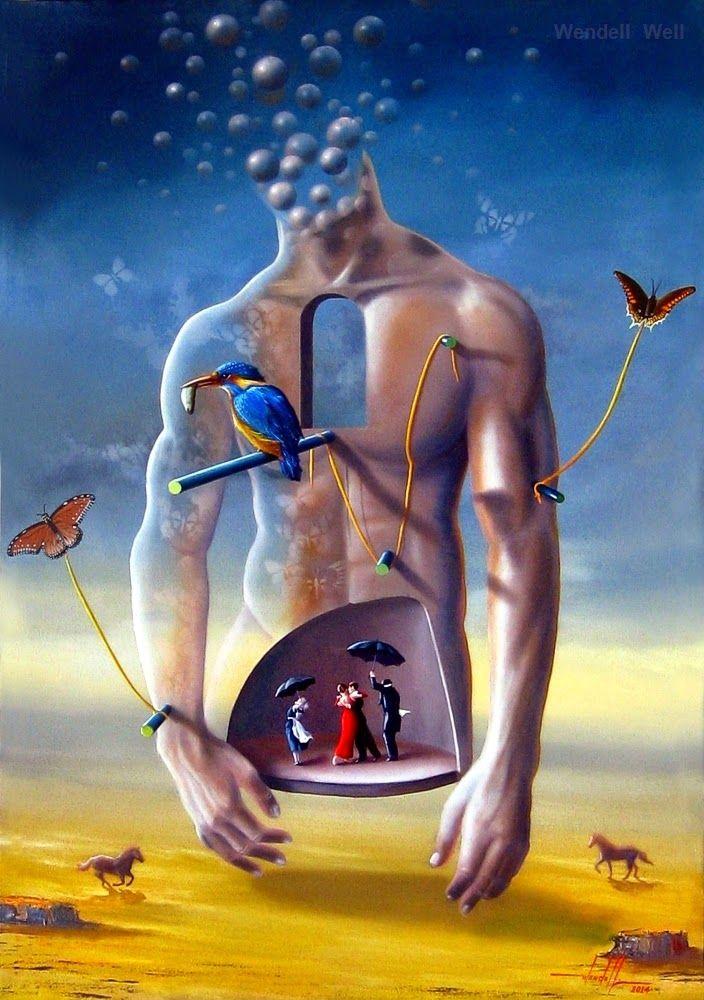 pintura surreal em óleo sobre tela