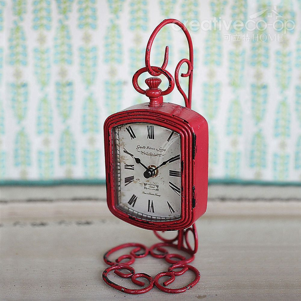 Creative clock background  Fuchsia Pewter Clock w Metal Pocket Watch Stand  Creative CoOp