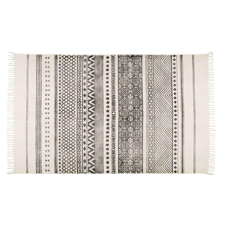 Tapis En Coton écru Motifs Noirs 140x200 Maisons Du Monde Baumwollteppiche Teppich Teppichläufer