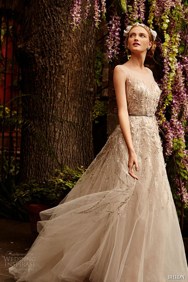 sleeveless illusion sweetheart neckline metallic lace strips layered tulle skirt sandstone A-line #wedding dress wisteria #weddings #weddingdress