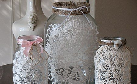 shabby chic, bottles and lace